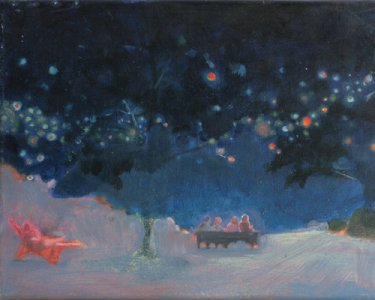 Night Lights VIII, 30x40cm, Pigmente auf Leinwand, 2012