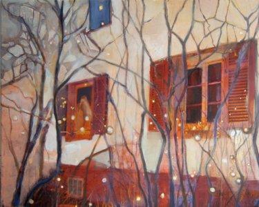 """Night Lights IX"", 30x40cm, Pigmente auf Leinwand, 2012"